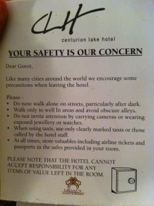 recomendaciones de seguridad del hotel